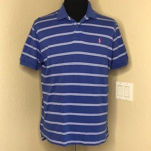 POLO RALPH LAUREN COPY Striped Blue Polo Shirt L